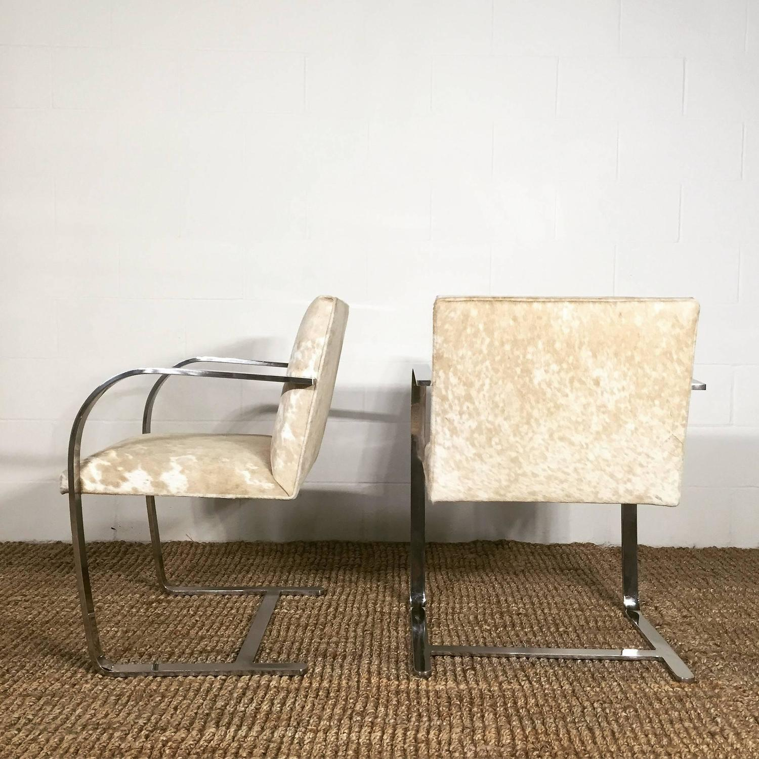 cowhide chairs nz cheap bean bag chair pair of brno by mies van der rohe for knoll in