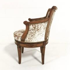 Cowhide Chairs Nz How To Make Slide On Carpet Vintage Swivel Chair In Brown And White Speckled Brazilian