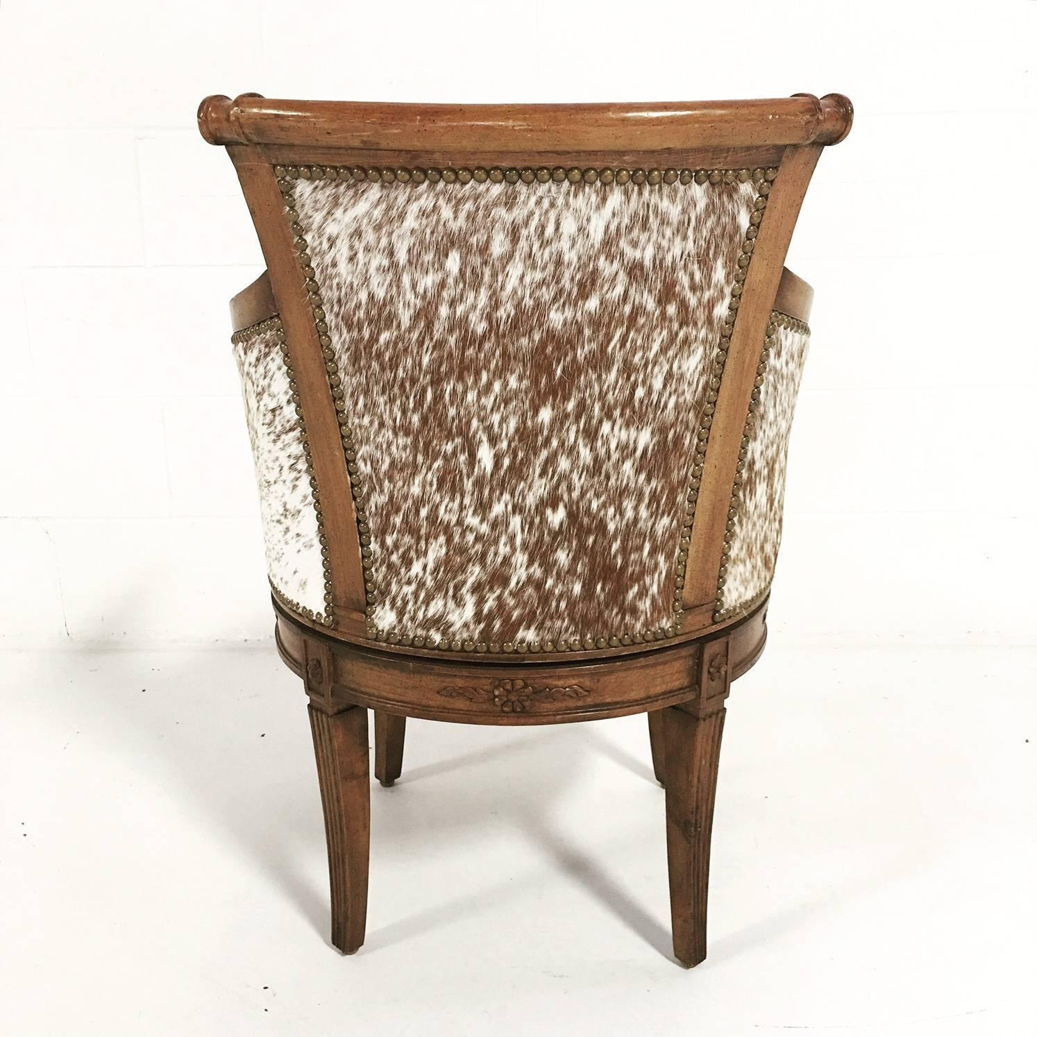 cowhide chairs nz keter baby high chair reviews vintage swivel in brown and white speckled brazilian