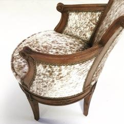 Cowhide Chairs Nz Shower Transport Chair Vintage Swivel In Brown And White Speckled Brazilian