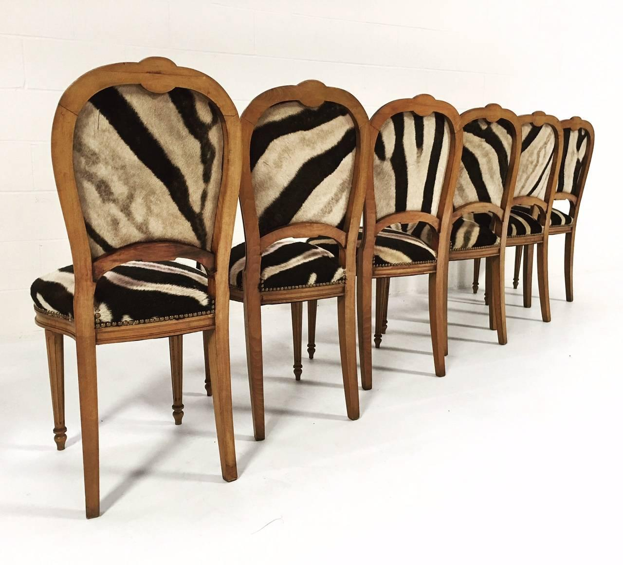zebra dining chairs tufted chair set of 4 vintage maison jansen louis xvi style in
