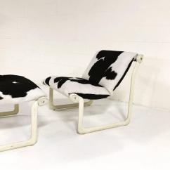 Black And White Cowhide Chair Wood Folding Chairs Bulk Morrison Hannah For Knoll Ottoman In
