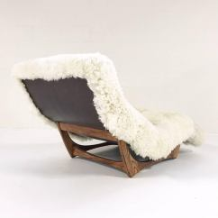Adrian Pearsall Rocking Chair Proper Posture In Style Wave Chaise Lounge Restored Brazilian Sheepskin At 1stdibs