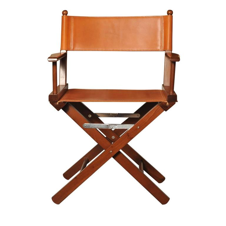 Cognac Leather Directors Chair For Sale at 1stdibs