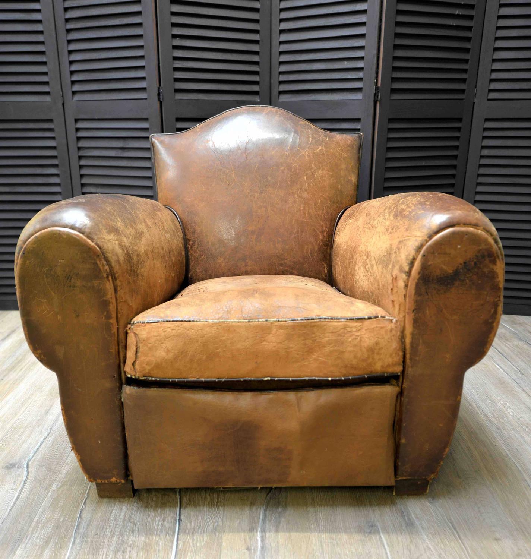 art deco club chairs leather wingback for sale 1920s french chapeau gendarme or fleur de lys