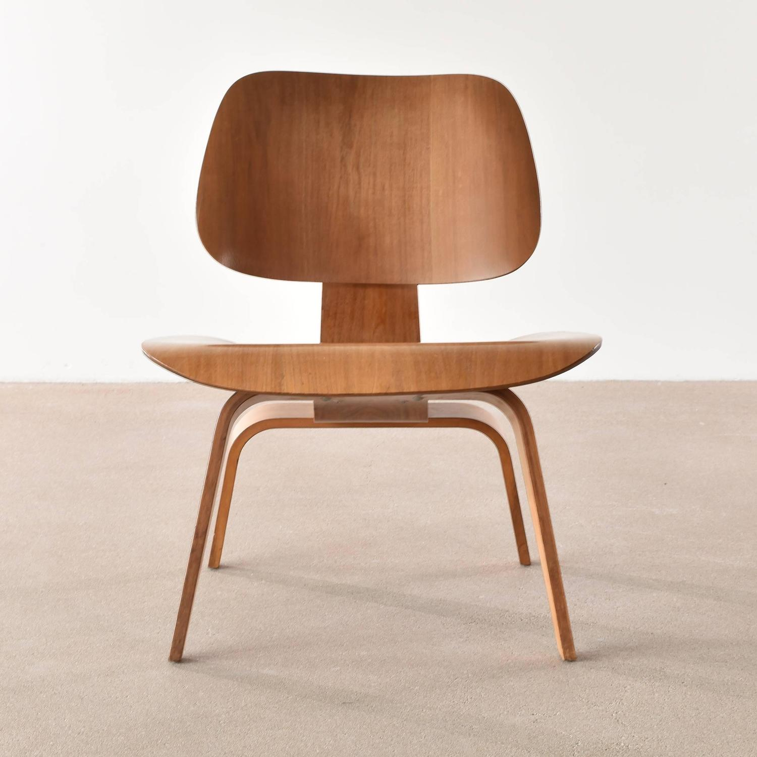eames lcw chair steel leg caps walnut lounge for herman miller at 1stdibs