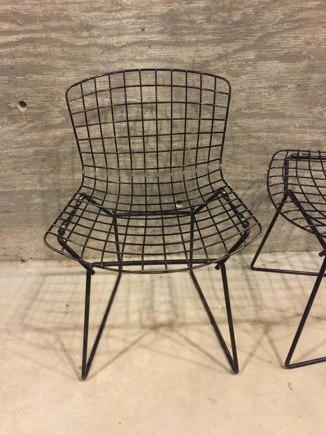 bertoia wire chair original folding to bed pair of vintage child size harry for knoll