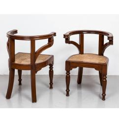 British Colonial Chair Office Ball Chairs Pair Of Anglo Indian Or Teakwood Library