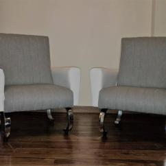 Grey Upholstered Chair White Legs Racing Seat Desk Mid-century Exclusive Pair Of Sleek Italian Armchairs With Curved Metal Base For Sale At 1stdibs