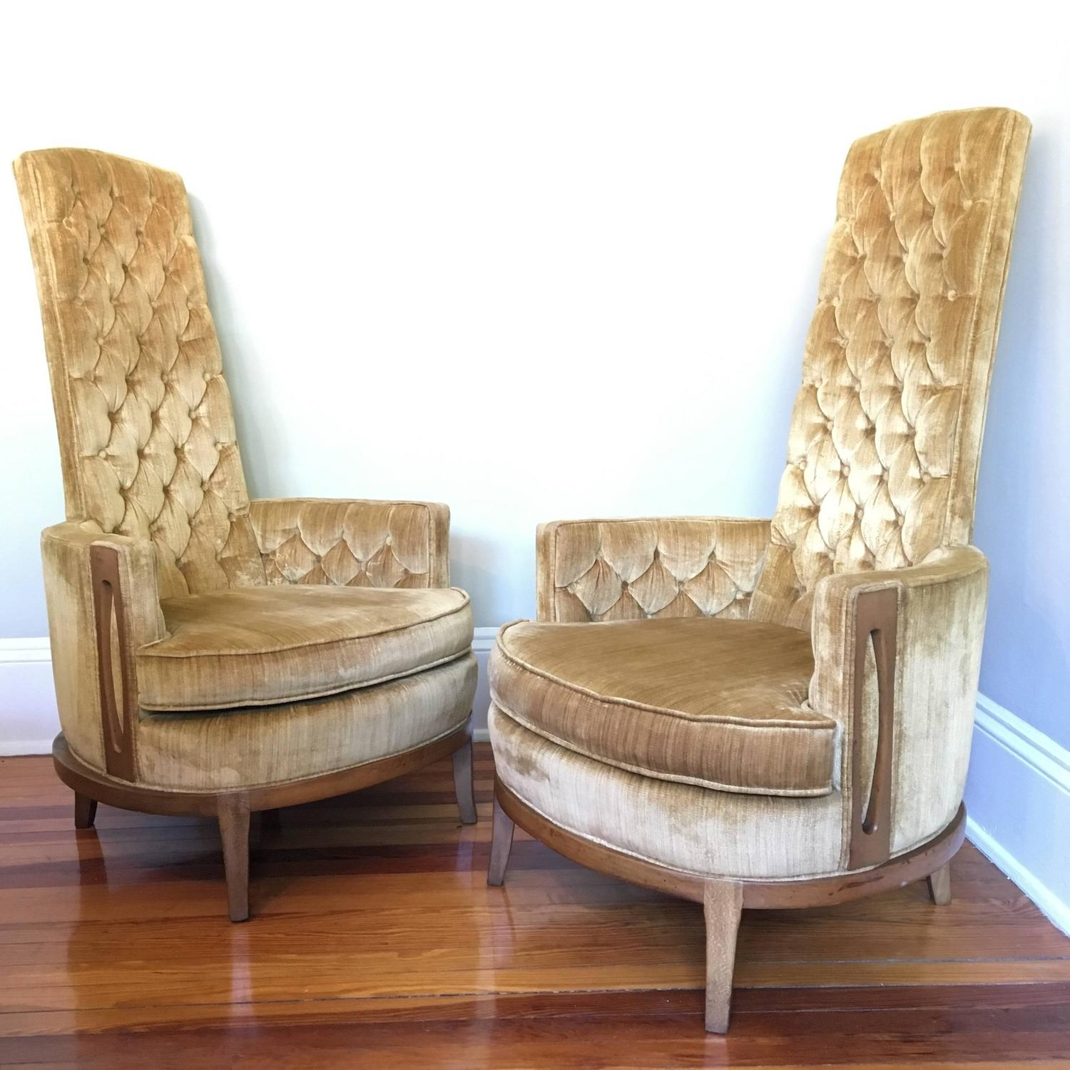 high back tufted chair where to buy bean bag chairs hollywood regency pair of in vintage