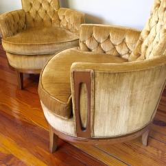 Gold Velvet Chair Round Pad Hollywood Regency Pair Of High Back Chairs In Vintage