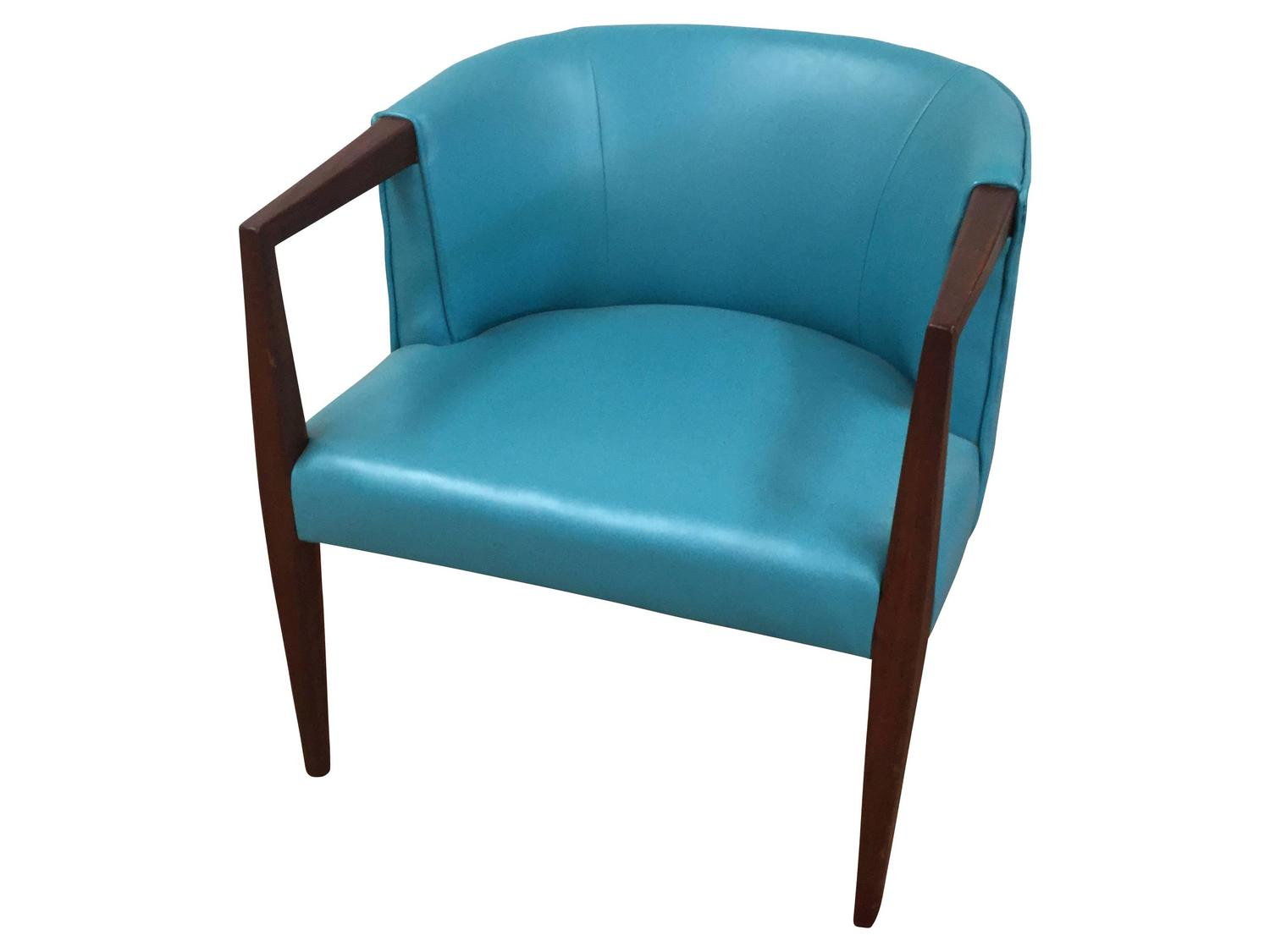 Turquoise Leather Chair Mid Century Turquoise Vinyl Club Chair For Sale At 1stdibs
