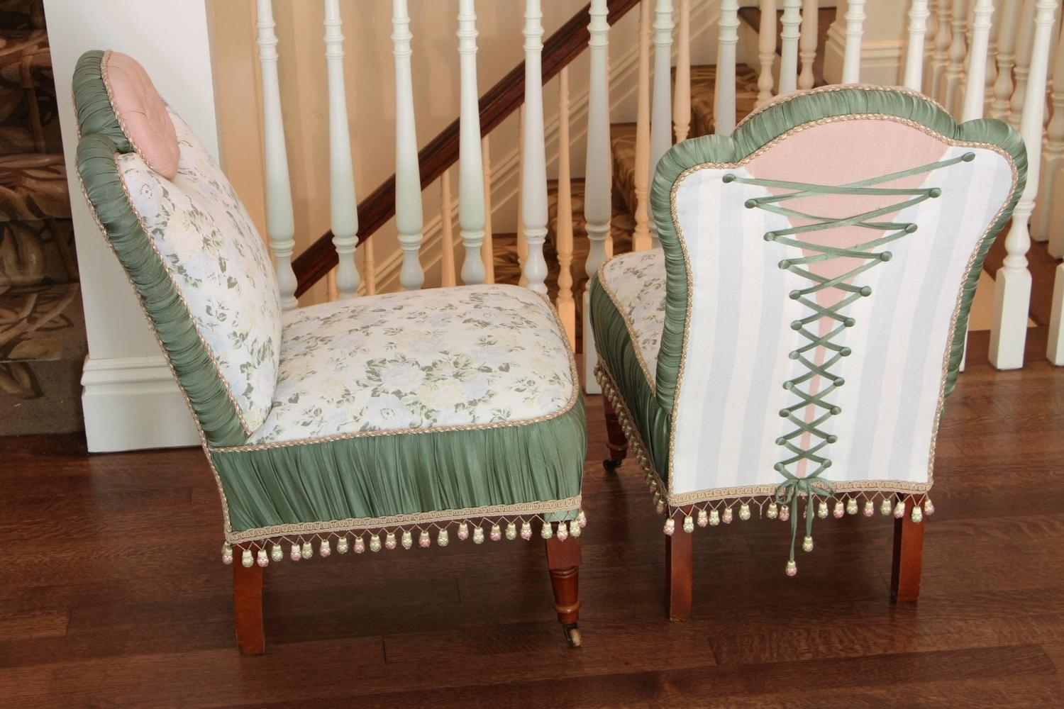 upholstered slipper chair avington wedding covers cardiff pair of antique custom chairs for sale