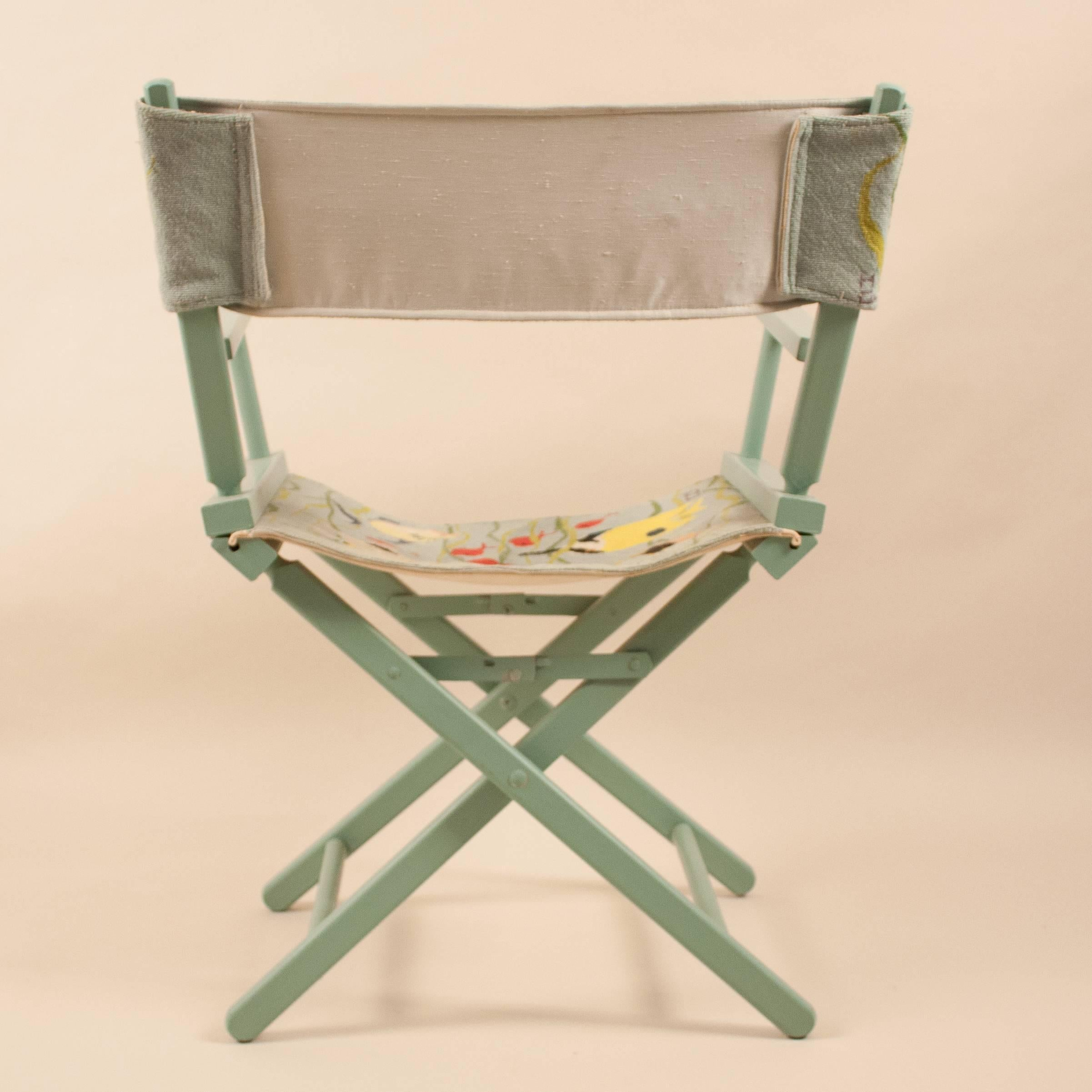 Folding Director Chair Director S Chair With Embroidered Tropical Fish Fabric
