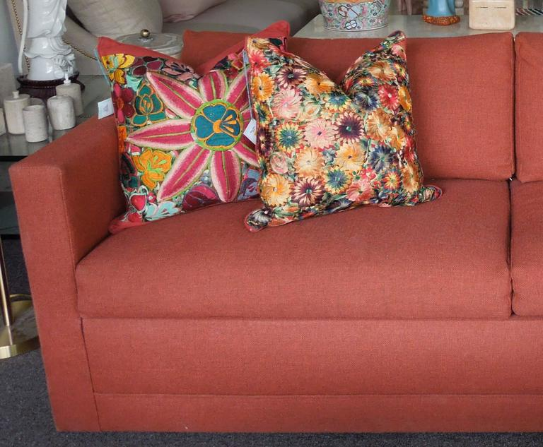 steam clean leather sofa flexsteel digby fabric 1970s architectural modern rust color tweed bed for ...