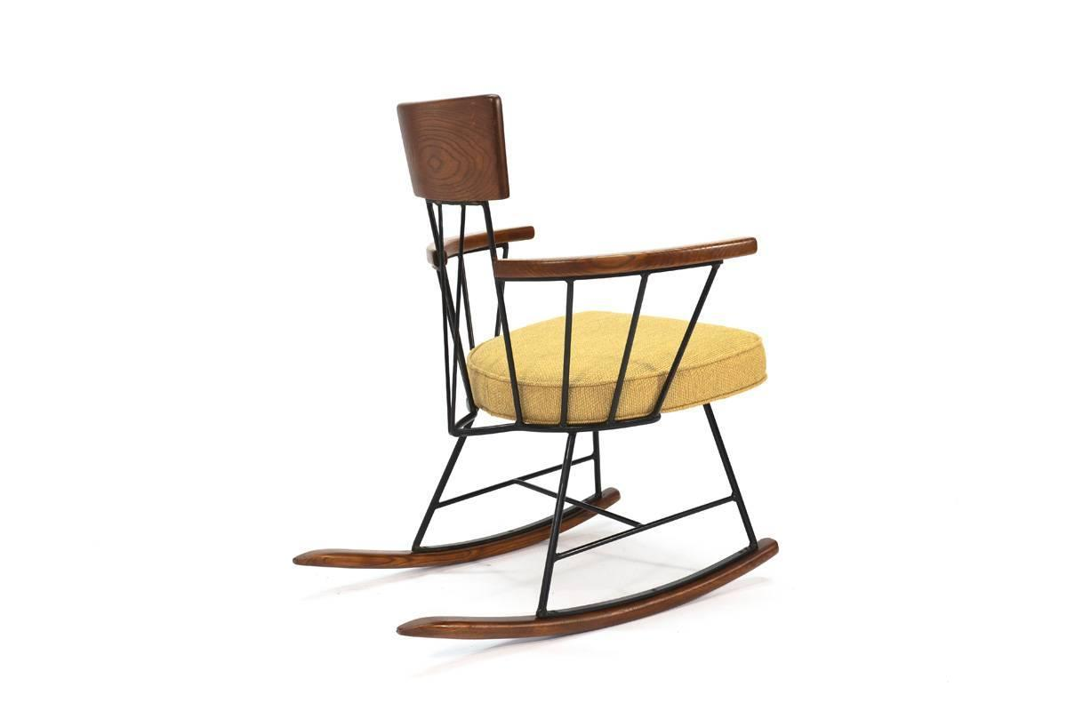 iron rocking chair large covers and oak by richard mccarthy for selrite