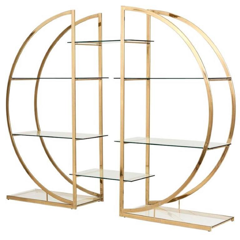 milo baughman art deco brass pair of etageres circular d hollywood regency shelf