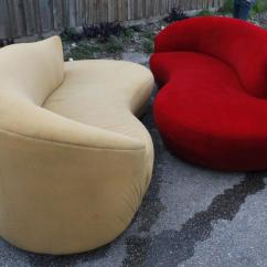 Cloud Sofa For Sale Polaris Furniture Sofas Pair Of Curved Kidney Chrome Ultrasuede