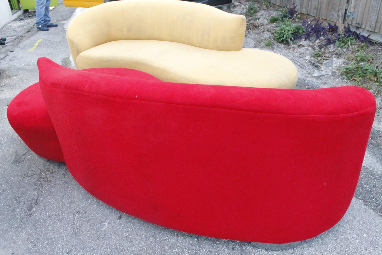 hollywood regency curved sofa reclining phoenix az vladimir kagan style couch vintage kidney ...