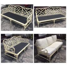 Chinese Chippendale Faux Bamboo Rattan Sofa Couch