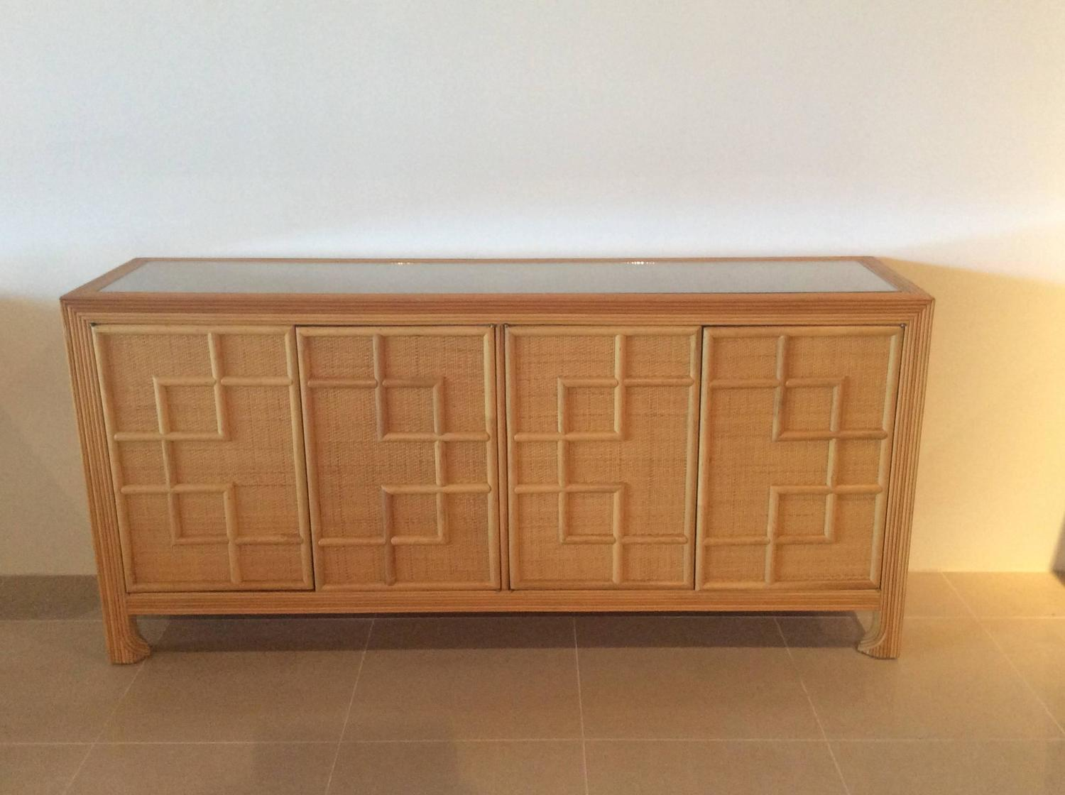 Pencil Reed Bamboo Rattan Wicker Credenza Vintage Buffet