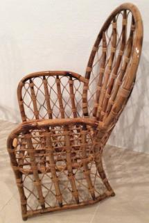 Rattan Wicker Arm Dining Chairs Vintage Set Of 4 Faux