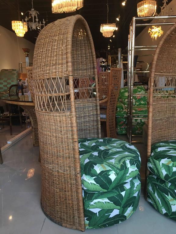 Rattan Dome Hooded Pair of Vintage Chairs Tropical Leaf