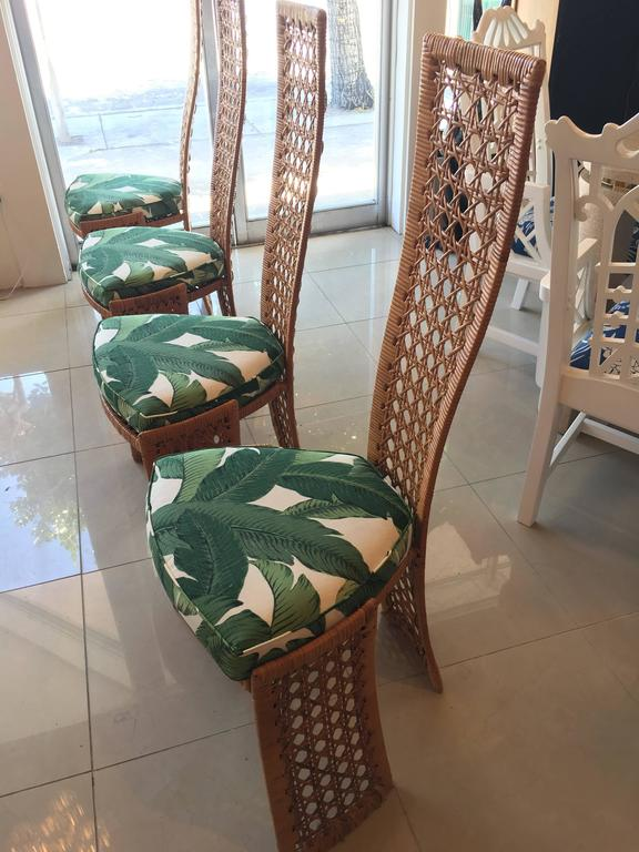 set of six dining chairs for sale posture best chair danny ho fong table four side rattan wicker tropical bamboo at 1stdibs