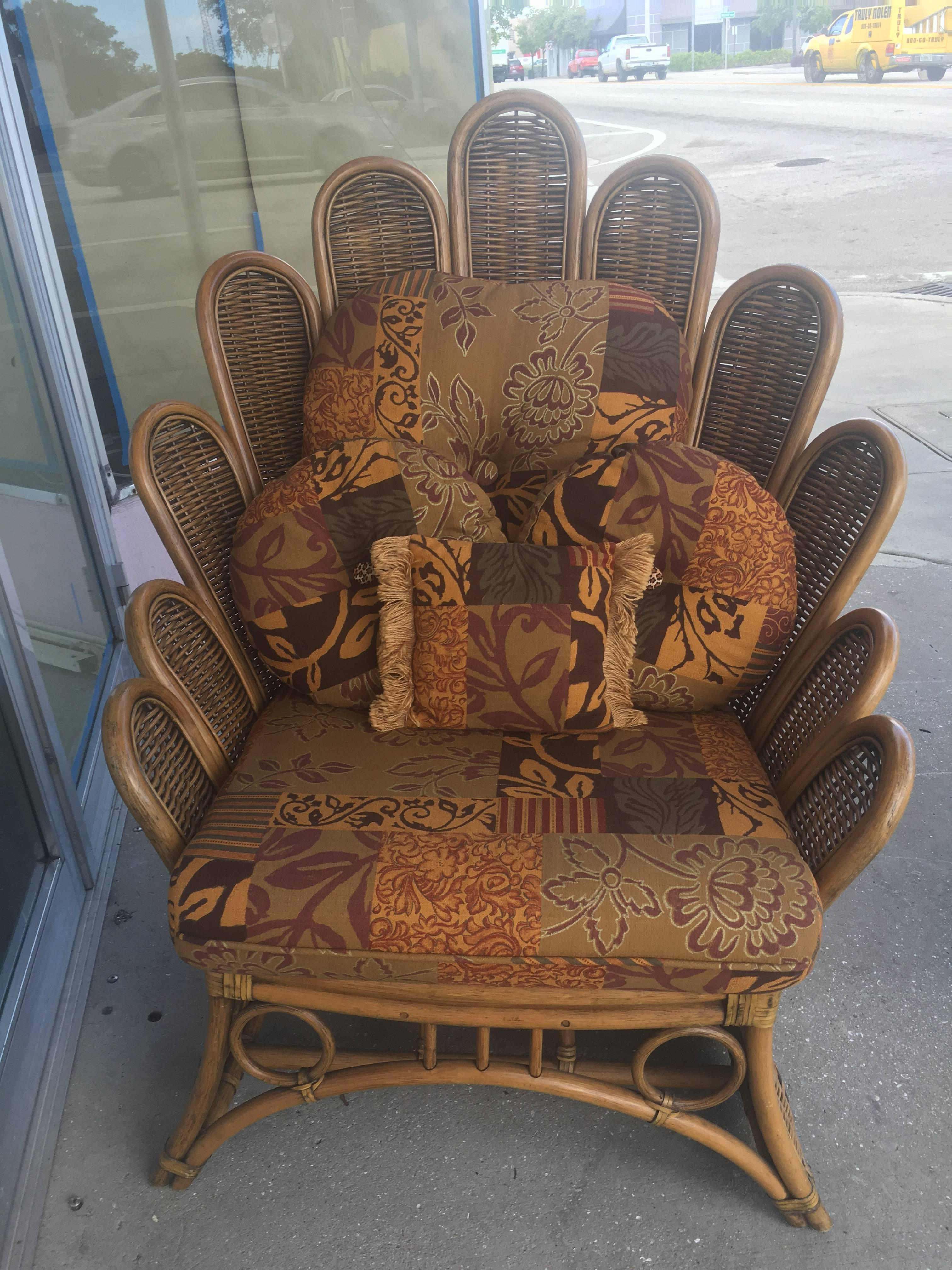 seat cushions for wicker chairs sears lift rattan and peacock fanback lounge club chair with ottoman sale at 1stdibs
