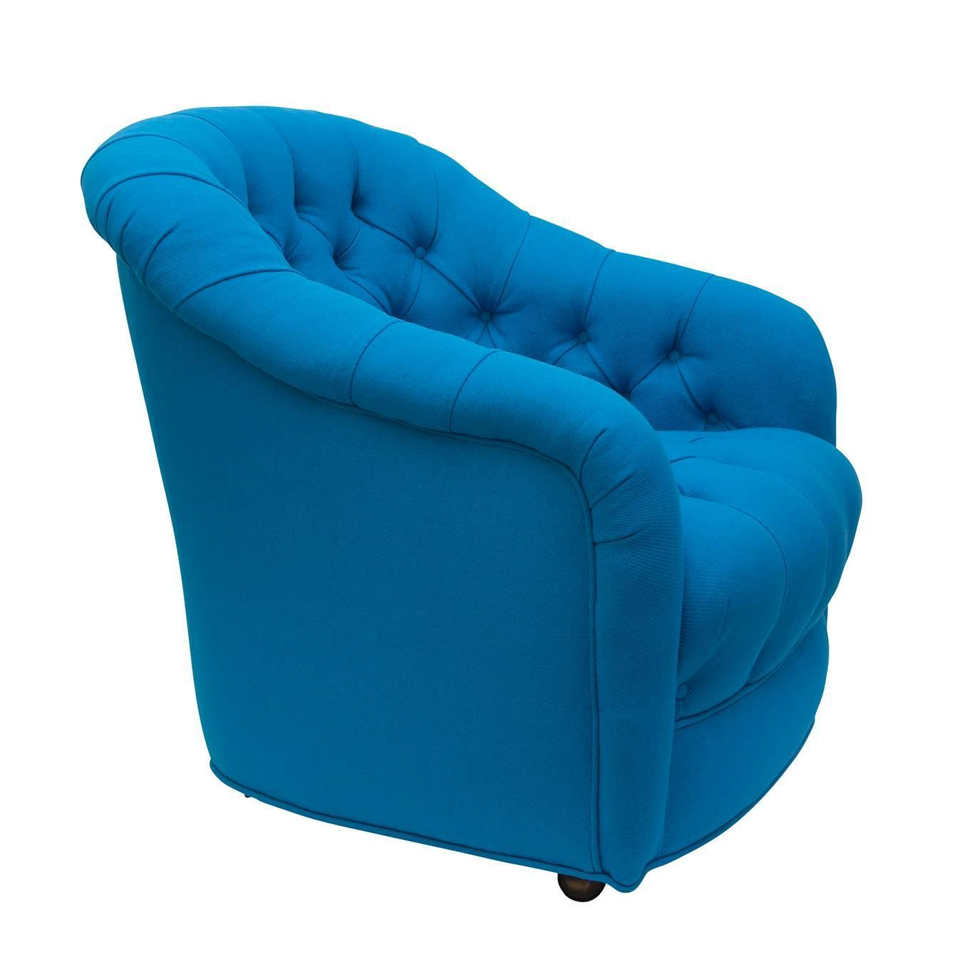 Turquoise Side Chair Tufted Swivel Side Chairs In Turquoise Wool Pair For Sale
