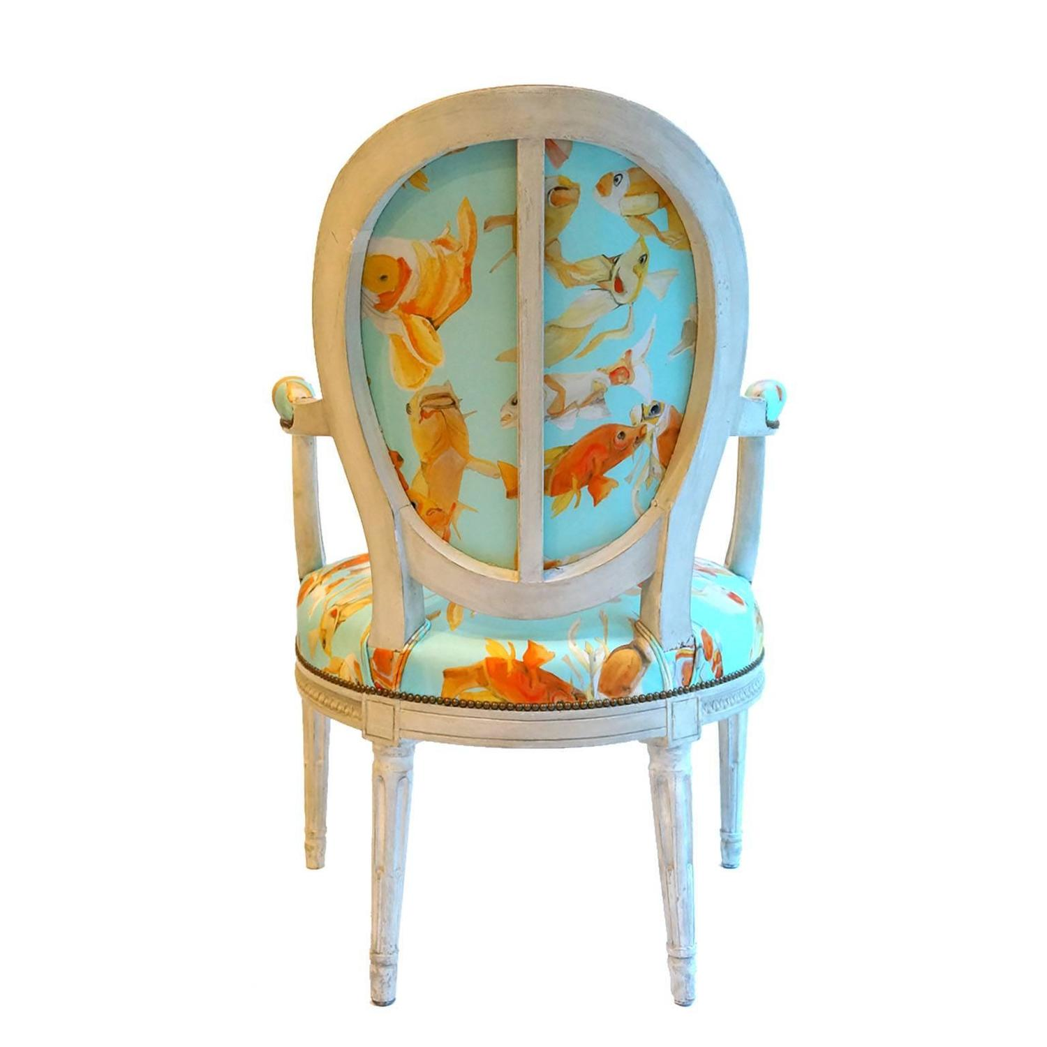 fishing chair add ons dining table and 6 chairs french balloon back x voutsa koi on tiffany blue for
