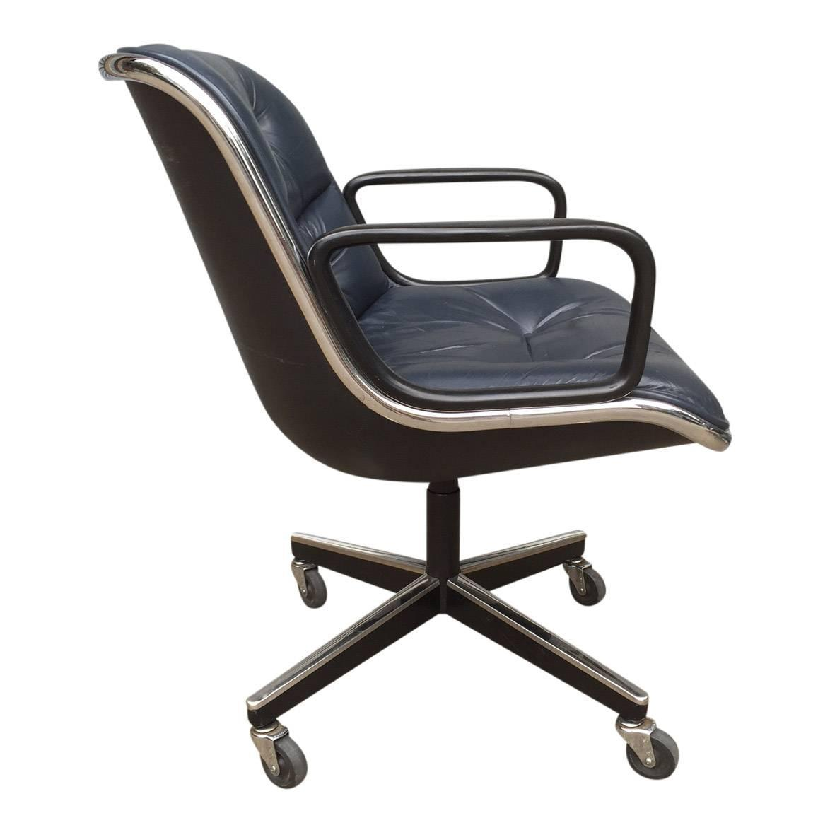 blue leather office chair ikea kivik covers charles pollock for knoll chairs in
