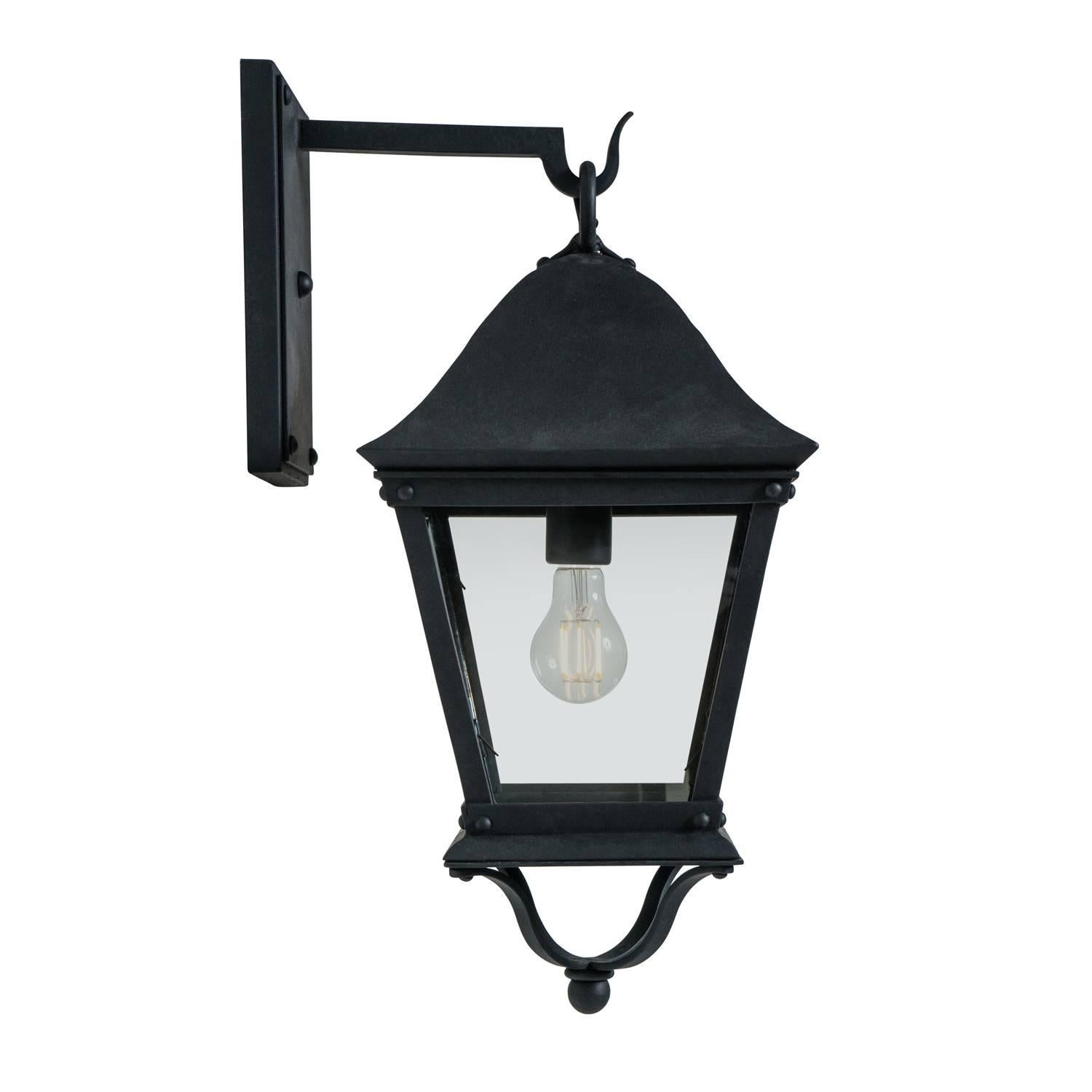 classic spanish colonial exterior outdoor wrought iron wall sconce grey