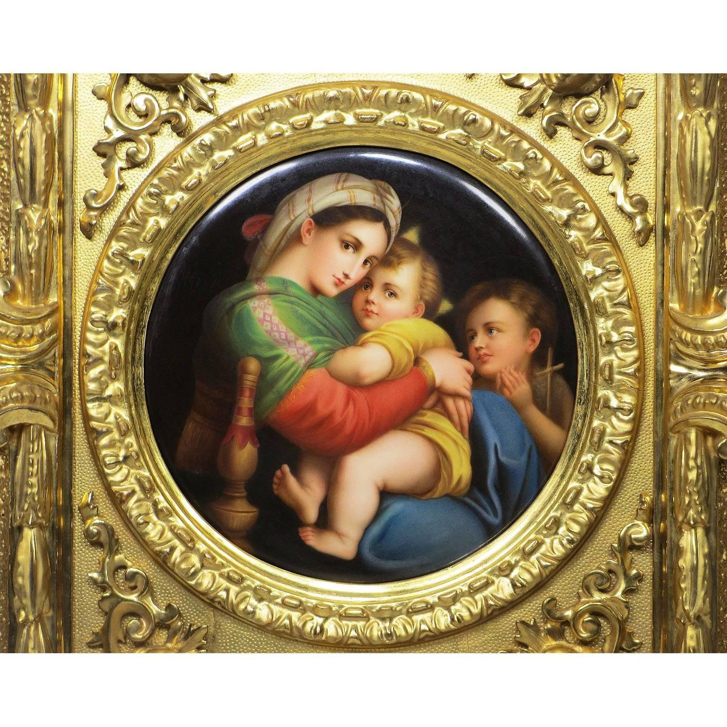 madonna of the chair rustic living room chairs fine 19th century porcelain plaque la della