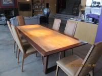 Custom-Made Mid-Century Style Dining Table and Six Chairs ...