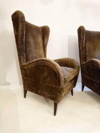 Mid-Century Italian Wingback Armchairs For Sale at 1stdibs