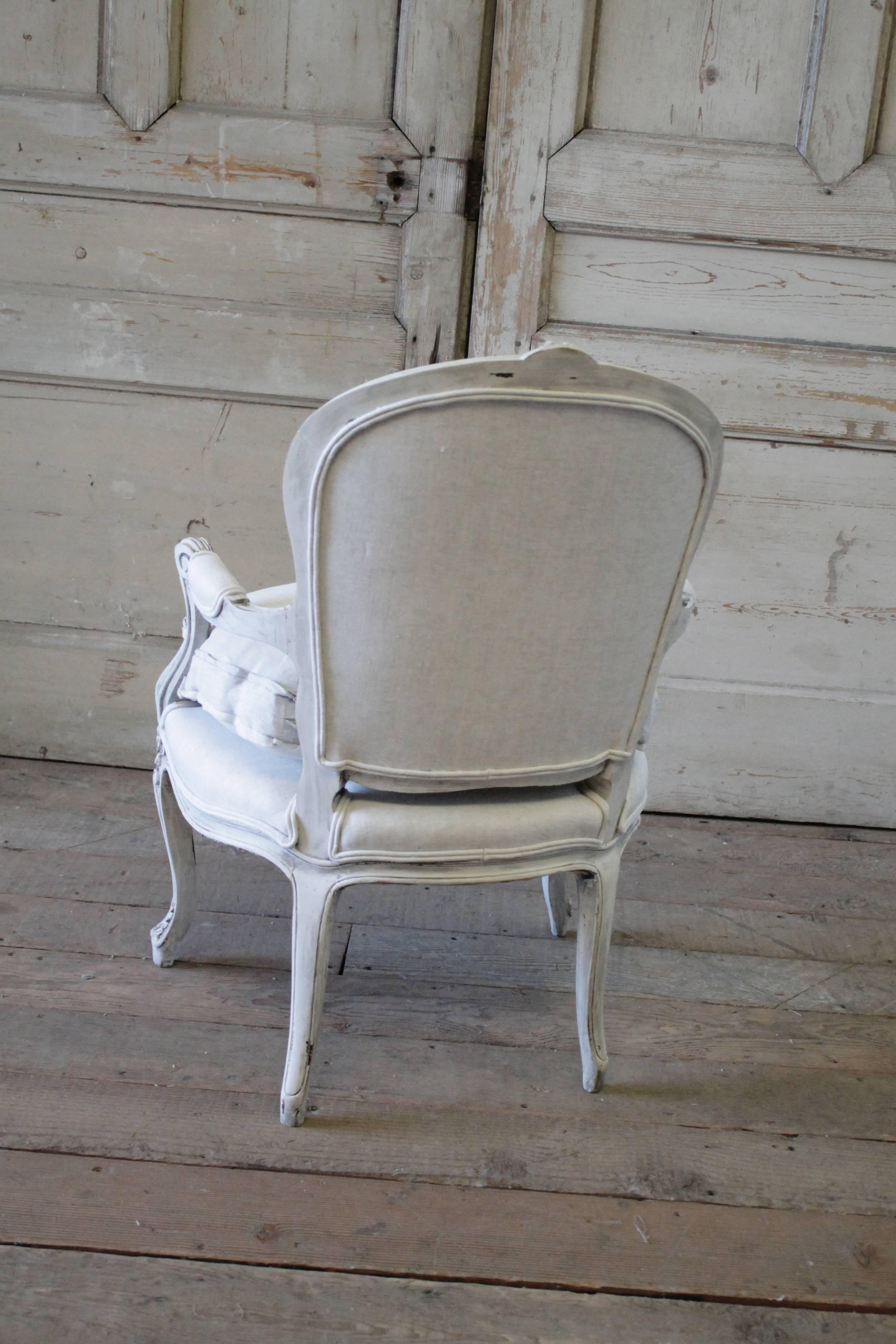 Antique French Country Style Upholstered Linen Open
