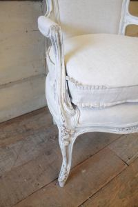 Antique French Country Style Upholstered Linen Open ...