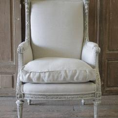 Leather Bergere Chair And Ottoman Most Comfortable Folding Antique Louis Xvi Painted Upholstered Wing At 1stdibs