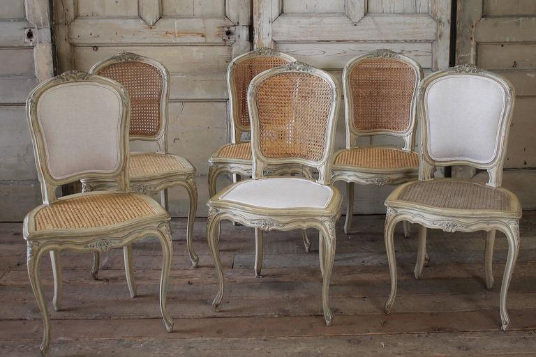aqua dining room chair covers stryker stair manual 19th century louis xv antique french cane chairs with original paint at 1stdibs