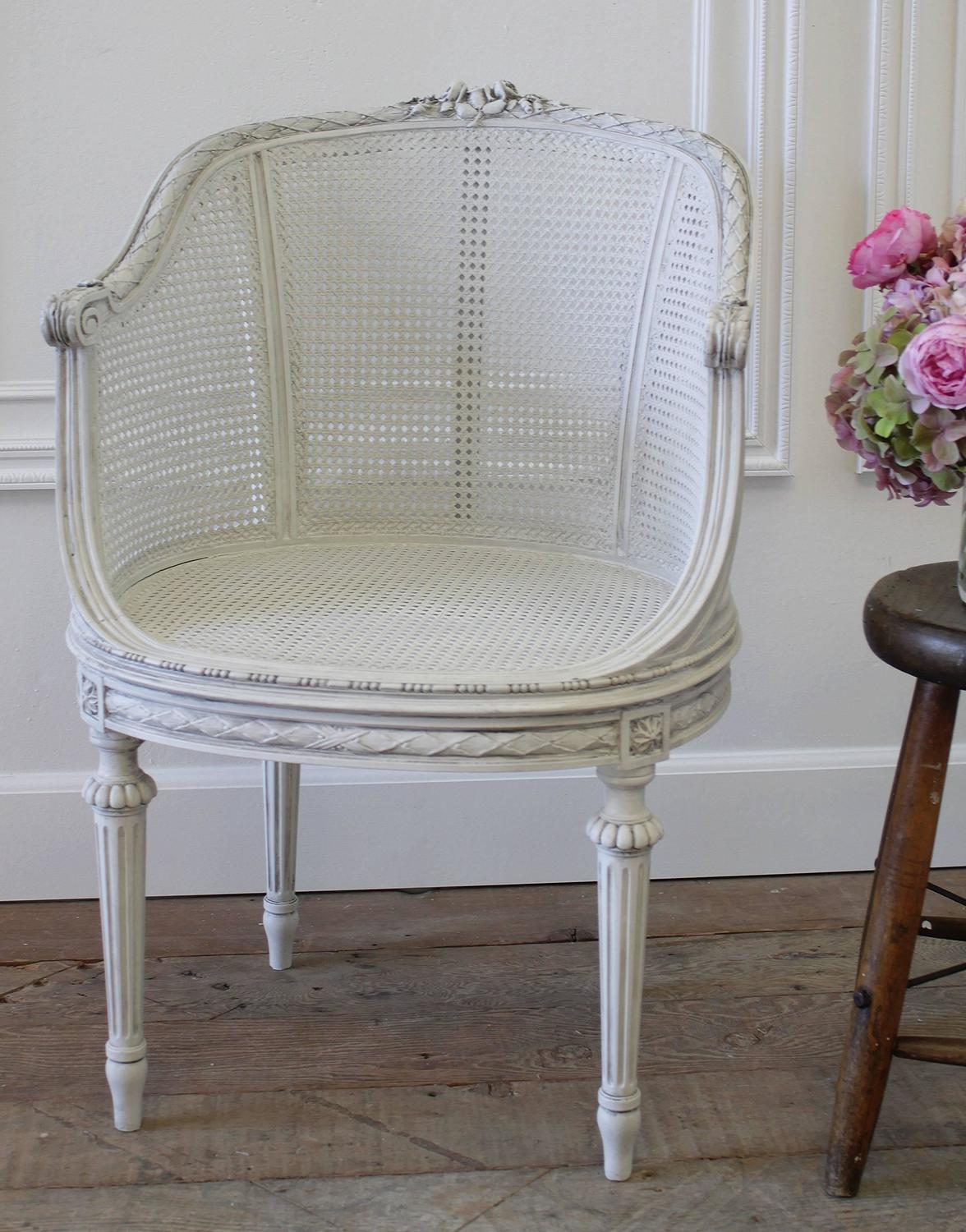 cane barrel chair high buy baby antique louis xvi french painted with
