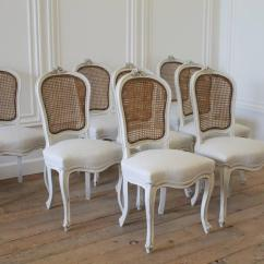 Cane Back Chairs Antique Hanging Chair Grace And Frankie Set Of Eight Vintage French Painted Dining