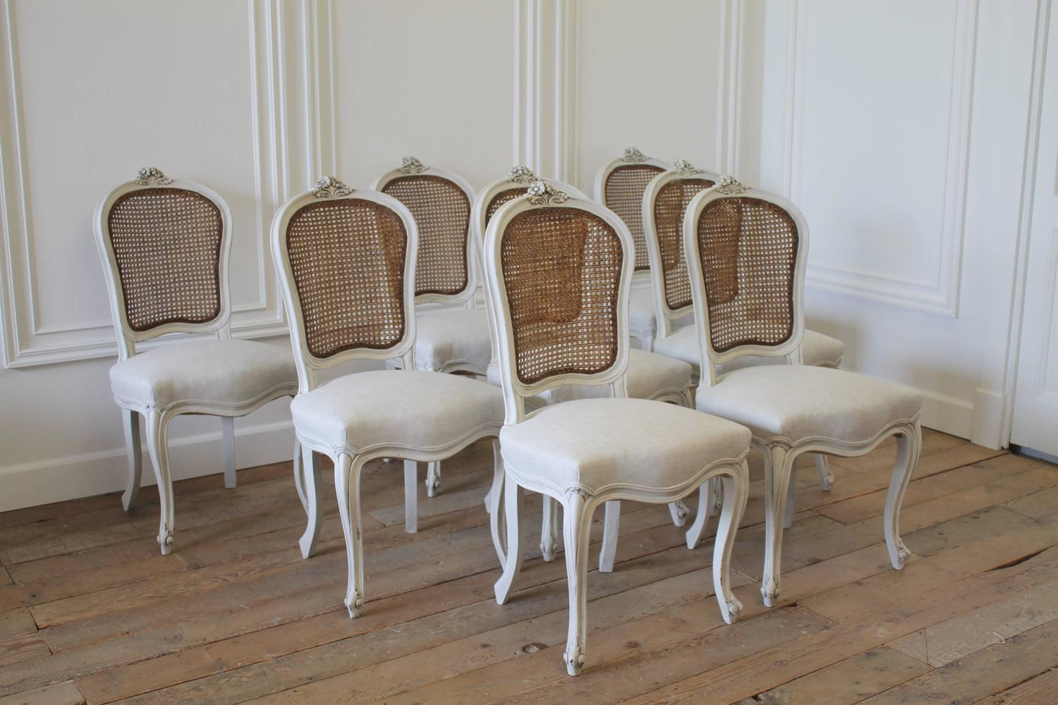 Cane Dining Chairs Set Of Eight Vintage French Painted Cane Back Dining