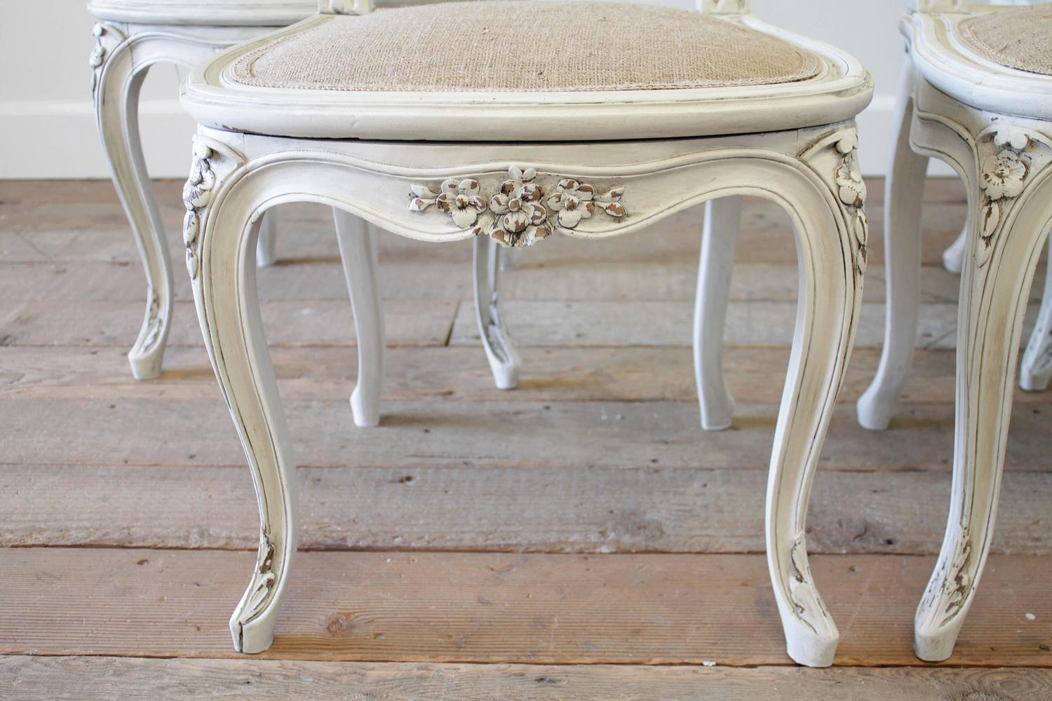 french cane back dining chairs used parsons set of four louis xv style painted