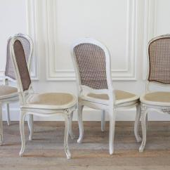 French Cane Back Dining Chairs Cedar Adirondack Vermont Set Of Four Louis Xv Style Painted