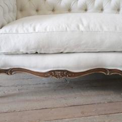 French Linen Tufted Sofa Seattle Wa Antique Louis Xv Style Button In Organic Belgian Excellent Condition For