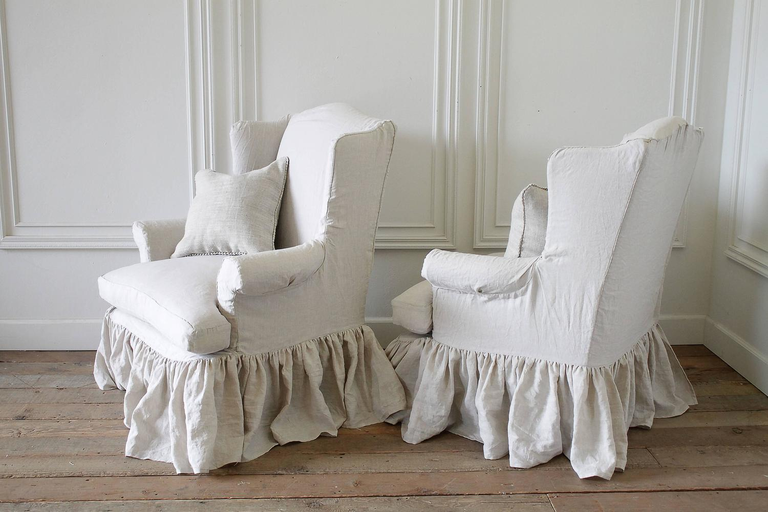 wingback chair covers ireland office chairs without wheels and arms vintage slip covered in organic irish