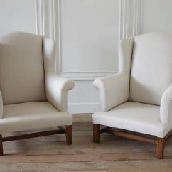 Chair Covers For Sale Ireland High Backed Vintage Wingback Chairs Slip Covered In Organic Irish