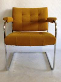 Pair 1970'S Chrome Upholstered Chairs By, Patrician