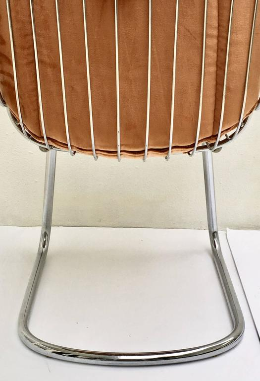 1960s Pair Of Italian Gaston Rinaldi Style Chrome Wire